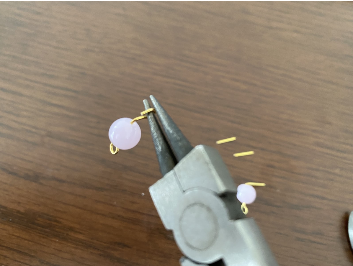 ハンドメイド薔薇ゴールドイヤリングの作り方3