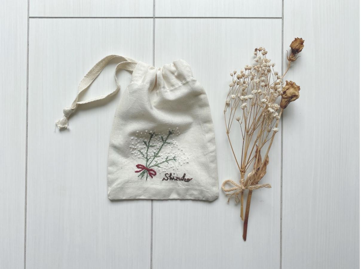 おうち時間を有効活用!母の日ギフトにおすすめ!名入れ刺繍巾着の作り方・縫い方