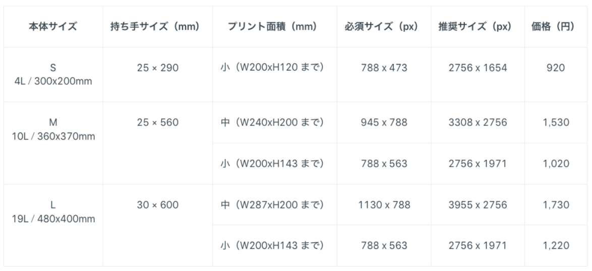 BASEトートバックのサイズと価格