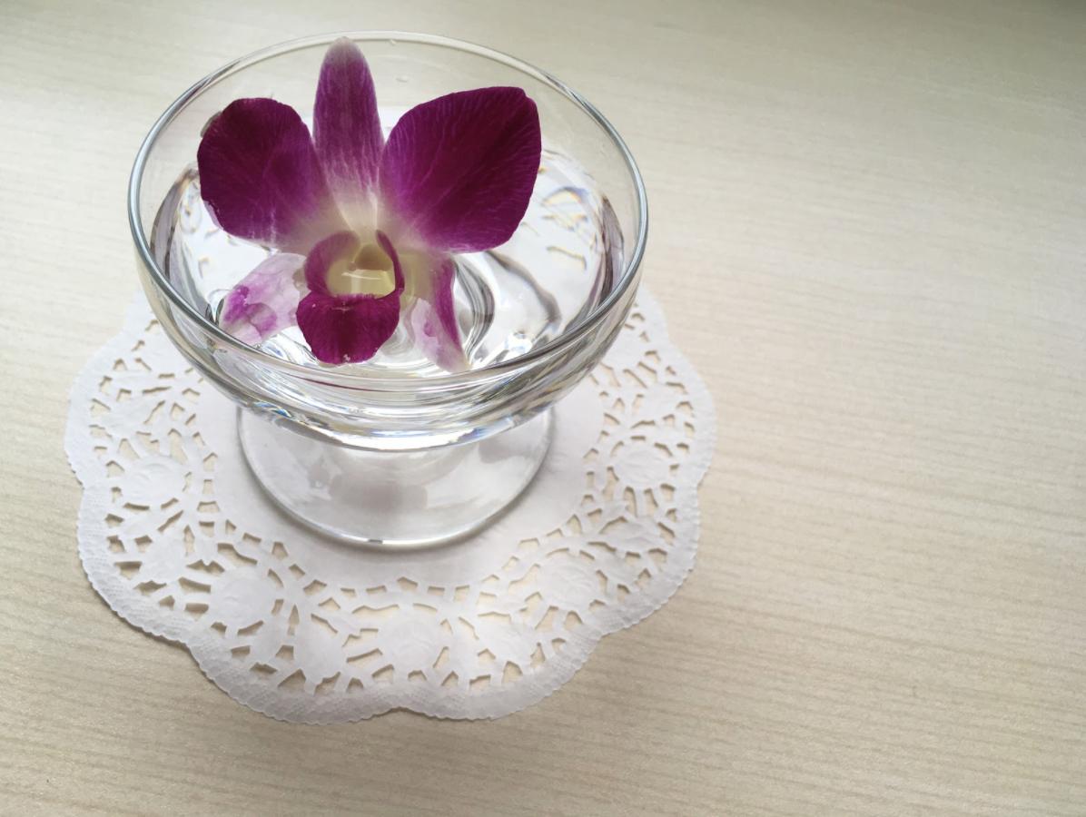 【夏らしくみずみずしい】コップやグラスに花を1輪水に浮かせるだけでもかわいい