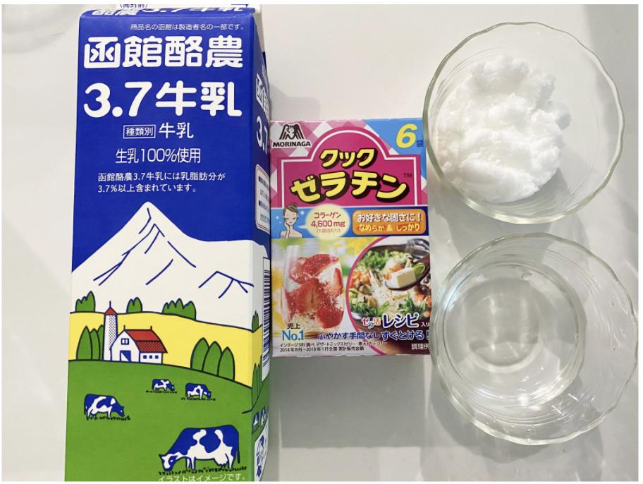 おうちカフェスイーツ「ダルゴナコーヒープリン」のプリンに使用する材料・分量