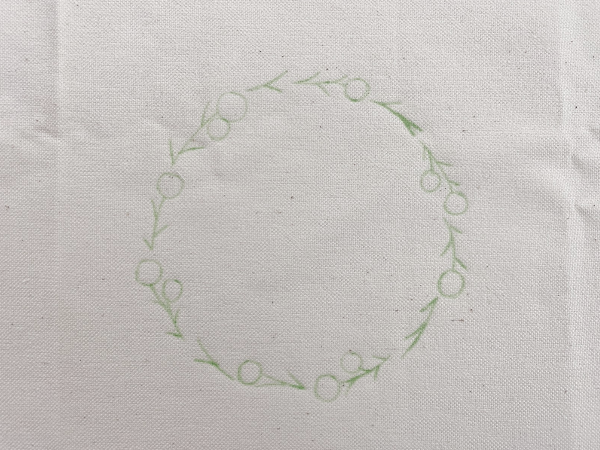 刺繍トートバッグを作るための下準備、バラ刺繍の図案の書き方